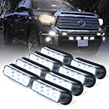 Xprite White 4 LED 4 Watt Emergency Vehicle Waterproof Surface Mount Deck Dash Grille Strobe Light Warning Police Light Head with Clear Lens - 8 Pack