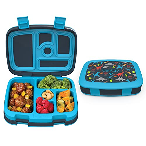 Bentgo Kids Prints Leak-Proof, 5-Compartment Bento-Style Kids Lunch Box - Ideal Portion Sizes for Ages 3 to 7 - BPA-Free, Dishwasher Safe, Food-Safe Materials (Dinosaur)