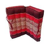 Collumino® - cuscino tradizionale Thai pieghevole in kapok, ideale per yoga e meditazione. Con maniglia per il trasporto , rosso, marrone.