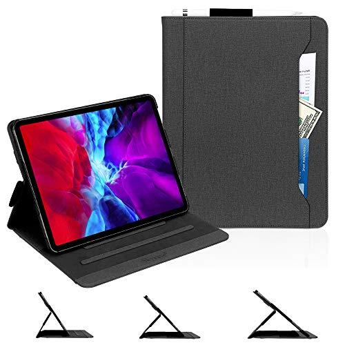 Skycase iPad Pro 12.9 Case (2020),iPad Pro 12.9 4th Generation Case,[Support Apple Pencil Charging] Auto Dormancy Canvas Multi-Angle Viewing Stand Folio Case for Apple iPad Pro 12.9 inch 2020,Black