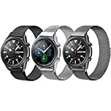 3 Pack Compatible with Samsung Galaxy Watch 3 45mm/Galaxy Watch 46mm/Gear S3 Frontier Classic Bands,Width 22mm Adjustable Stainless Steel Mesh Loop Replacement Wristband Strap Bracelet.
