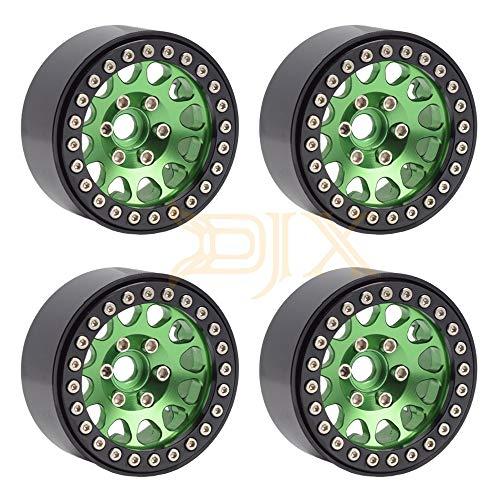 "DJX 4PCS Aluminum 1.9"" RC Beadlock Wheels for 1/10 RC Rock Crawler Axial SCX10 Traxxas TRX4"