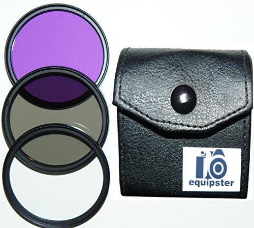 equipster UV-Filter + CPL Polfilter + FLD FilterSet in praktischer Transporttasche für das Kamera Objektiv Sony DT 55-200mm f4.0-5.6 (SAL-55200)