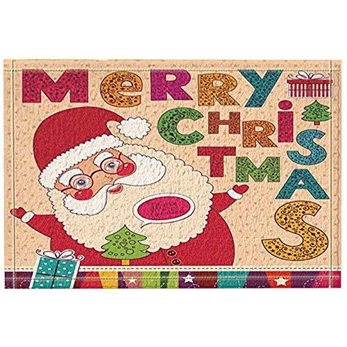 JHDF Alfombras de baño de año Nuevo Santa bendición Feliz Navidad Alfombrilla Antideslizante Entradas de Piso Alfombra de baño para niños de Interior 40 * 60 cm Accesorios de baño