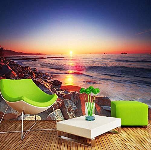 XHXI Beautiful Sunset Beach Romantic Landscape Mural 3D Wallpaper Living Room Sofa TV Home Decoration 3D Wallpaper Living Room The Wall for Bedroom Mural border-350cm×256cm