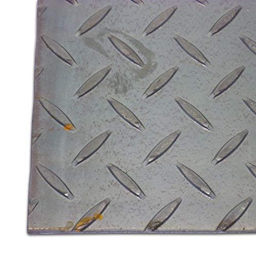 B&T Metall Stahl Tränen-Blech blank, Eisen St 37 | 3,0 mm stark | Riffel-Blech als Zuschnitt Größe 250 x 400 mm (25 x 40 cm)