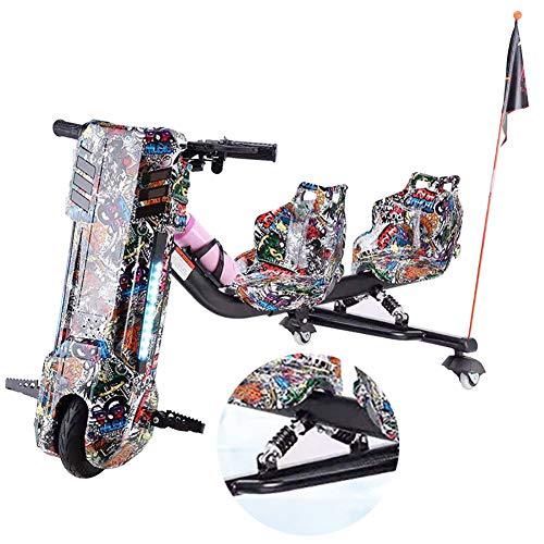 Driftscooter Elektro Motor Dreirad Elektrische Drift-Trikes Mit Doppeltem Federstoßdämpfer ABS-Material, Doppelsitzdesign Geeignet Für Vater Und Kind Zusammen Zu Reiten