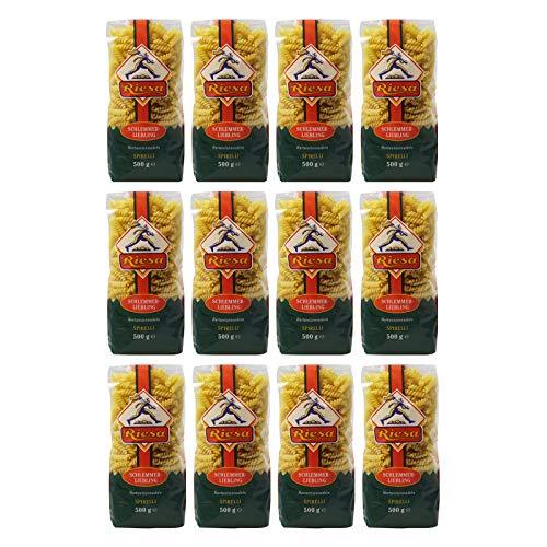 12er Pack Riesa Nudel Schlemmerliebling Spirelli (12 x 500 g) Teigwaren Riesa Nudeln, Pasta