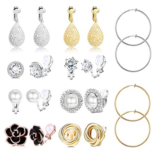 SAILIMUE 10 Pairs Clip Earrings for Women Fashion Rose Flower CZ Simulated Pearl Hoop Earrings Twist Knot Pierced Clip On Earrings
