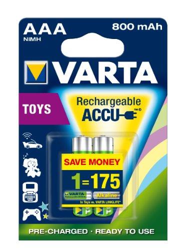 VARTA Rechargeable Accu Power vorgeladener AAA Micro Ni-Mh Akku (2er Pack, 800 mAh) , wiederaufladbar ohne Memory-Effekt - sofort einsatzbereit