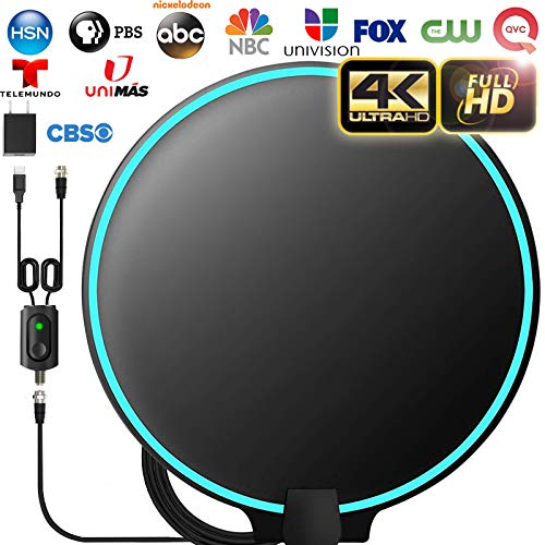 [Upgraded 2020] Amplified HD Digital TV Antenna Long 200+ Miles Range - Support 4K 1080p Fire tv Stick and All Older TV's Indoor Powerful HDTV Amplifier Signal Booster - 18ft Coax Cable/AC Adapter