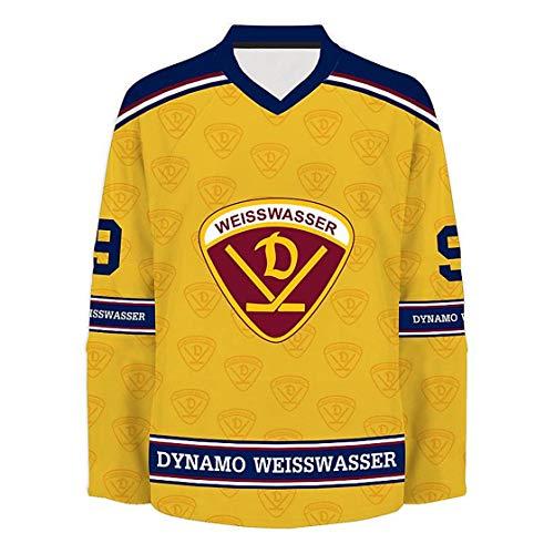 SPORTSMA Dynamo Weißwasser Fantrikot aus 100% Polyester gelb zum selber Personalisieren XL Eishockey Fanartikel