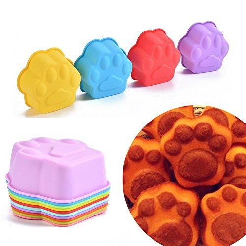 Lumanuby 10x Niedlich Hund Klaue Muffin Cup Wiederverwendbare Silikon Backförmchen für Muffins Brownies Cupcakes Pudding Seifen Formen 9 * 9 * 4.0cm Zufällige Farbe, Silikon Formen Serie