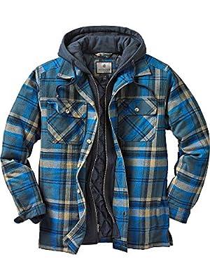 Legendary Whitetails Men's Maplewood Hooded Shirt Jacket (Large, Slate Hatchet Blue Plaid)
