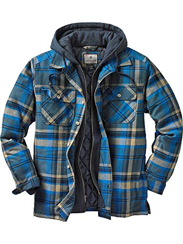 Legendary Whitetails Men's Maplewood Hooded Shirt Jacket (XX-Large Tall, Slate Hatchet Blue Plaid)