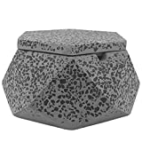 FREELOVE JINC Terrazzo Cigarette Ashtray with Lid, Windproof Cement Ash Tray for Indoor or Outdoor Use, Patio, Office & Home(Grey J)