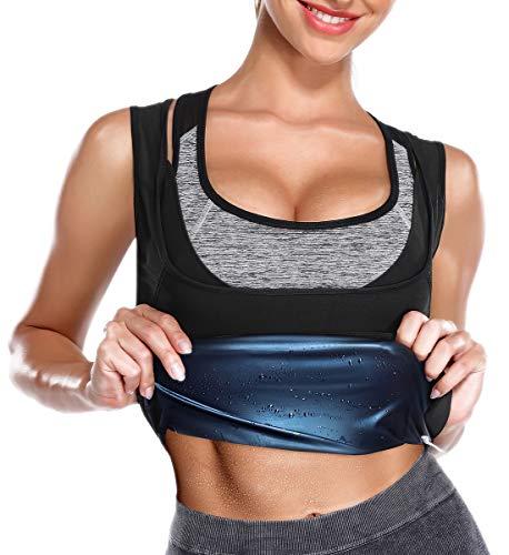 SLIMBELLE Sauna Shirt Damen Unterbrust Abnehmen Schwitz Anzüge Weste mit Polymer-Beschichtung 3X Sweat Hot Shapers Fitness Corsage Korsett Top Taillentrainer Gewichtsverlust