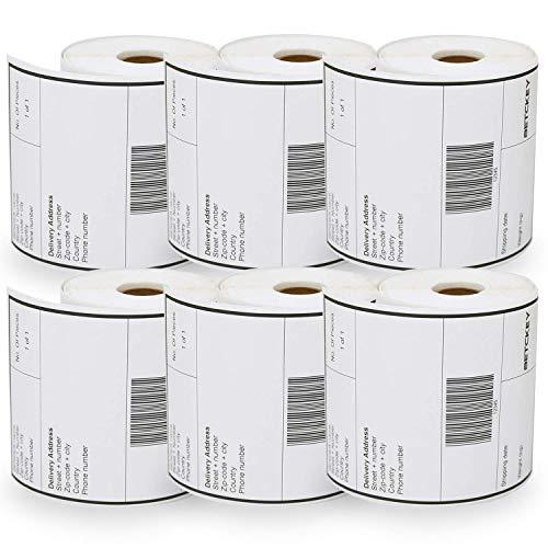 BETCKEY Etiquetas compatible con Dymo S0904980, 104mm x 159mm, 6 rollos x 220 labels Etiquetas de Envío grande, compatible para Dymo Etiquetas Writer Printers: 4XL