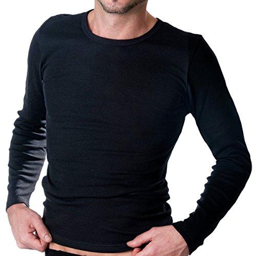 HERMKO 3640 2er Pack Herren Langarm Shirt (Weitere Farben), Farbe:schwarz, Größe:D 6 = EU L