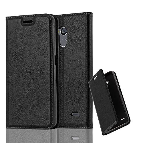 Cadorabo Book Case Works with ZTE Blade V7 LITE in Night Black – with Magnetic Closure, Stand Function and Card Slot – Wallet Etui Cover Pouch PU Leather Flip