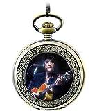 Infinite U Marilyn Monroe or The Hillbilly Cat Elvis Presley Colgante Retro Collar Esqueleto Hueco Reloj de Bolsillo Mecánico -Azul