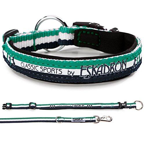 Eskadron Hundehalsbandset, Hundehalsband und Leine, smaragdgreen, pink Größe XL, Farbe smaragdgreen