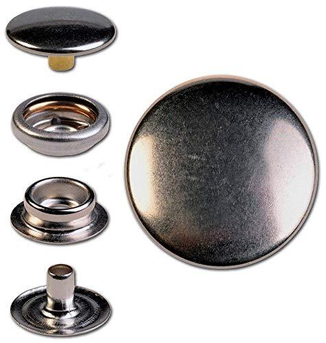 Hoppe & Masztalerz 30 Ringfeder-Druckknöpfe F3 17mm aus Eisen (nickelhaltig), Finish: nickel-glänzend, Verschlusskraft: stark