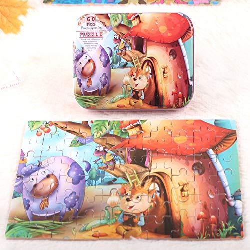storefront Kinderspielzeug Holzpuzzle Frühes Lernspiel Cartoon Anime Tiere Geeignet Für Kinder 3-7 Jahre Pädagogische Intelligenz Spielzeug Gehirnspiel (60Pc)