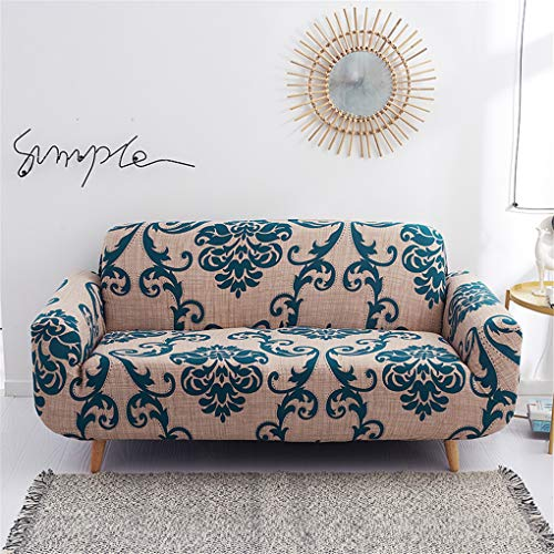 nordmiex Stretch Sofa Slipcovers Fitted Furniture Protector Print Sofa Cover Stylish Fabric Couch Cover for 3 Cushion Couch(3 Seater Sofa,European Style),Brown/Navy Blue