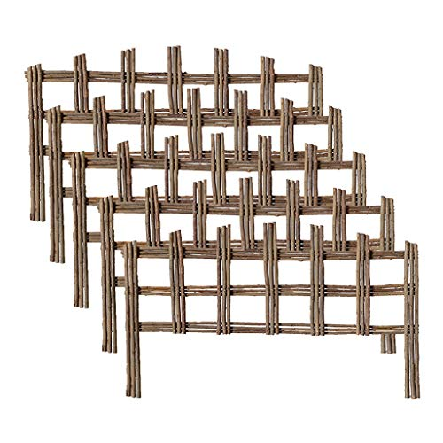 5PCS garden fence, wicker woven lawn partition, rustic retro style outdoor vegetable garden/yard decoration (Size : 60X35CM)