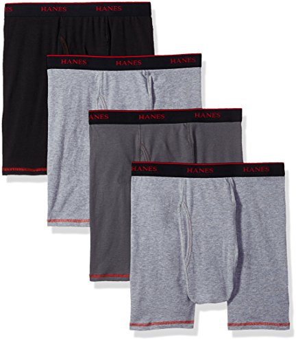 Hanes Men's 4-Pack Cool Comfort Breathable Mesh Boxer Brief Grey, Assorted, Large