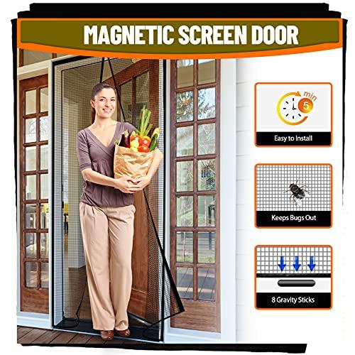 LABIGO Magnetic Screen Door,36x83 inch Fiberglass Screen Doors with 36 Magnets Fits Door Size up to 34'x 82', Heavy-Duty Mesh Curtain with Full Frame Hook & Loop for Sliding French Door, Hands Free
