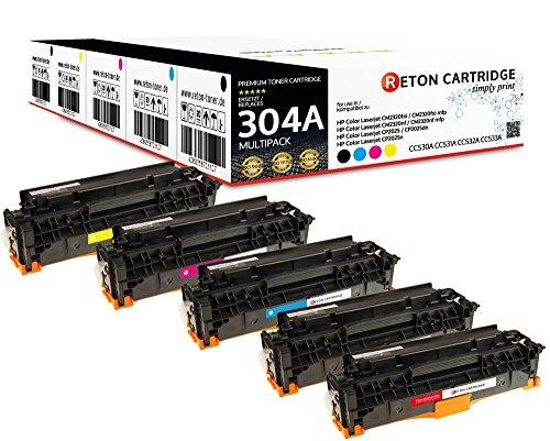 Original Reton Toner, kompatibel, 5er Farbset für HP CP2026 (CC530A, CC531A, CC533A, CC532A), HP 304A, Color Laserjet CM2320N, CM2320NF, CM2320FXI, CP2025N, CP2025DN, CP2025X, CM2320MFP