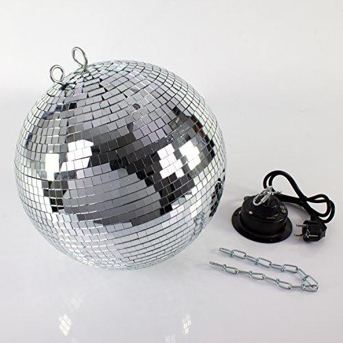 showking - Juego de bolas de discoteca GLIX Fever con motor giratorio y cadena, diámetro de 40 cm, color plateado - Bola de espejo con motor y extras