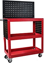 Flatbed truck Red Three-Story Space Design Parts car Multifunction Trolley Repair Tool cart with Double Brake Wheels Storage Tool cart Large Capacity