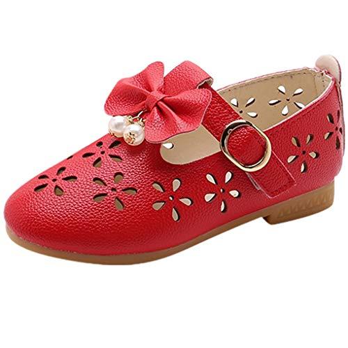 Babyschuhe Ballerinas/Dorical Mädchen Sommer rutschfeste Schuhe/Kinderschuhe mit Butterfly-Knot Perle Hohl Outdoor Casual Schuhe Party Prinzessin Schuhe Festliche Schuhe 21-36 EU(Rot,26 EU)