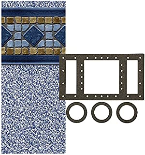 Smartline Laguna 24-Foot Round Pool Liner | UniBead Style | 52-Inch Wall Height | 25 Gauge Virgin Vinyl Material | Designed for Steel Sided Above-Ground Swimming Pools | Universal Gasket Kit Included