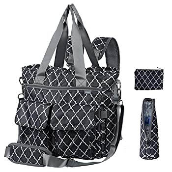 KUAK Diaper Bags Multi-Function Waterproof Large Travel Baby Nappy Tote Bag with Bottle Thermal Bag/Coin Purse 3 Detachable Straps for Backpack/Messenger Bag 3 Inside Insulation Pockets