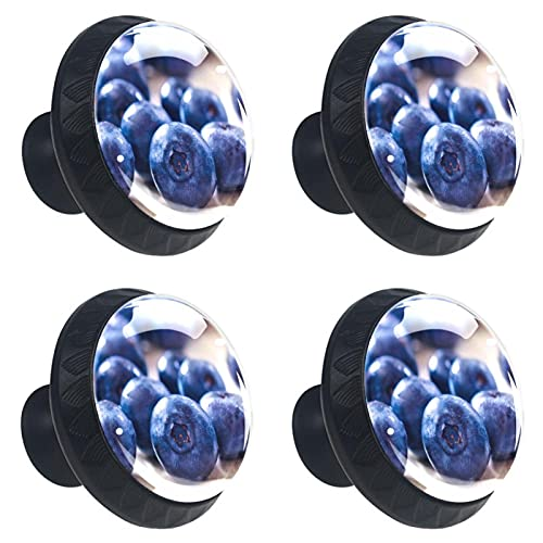 4 boutons d armoire poignées de tiroir en verre cristal,fresh fruit blueberry pattern,pour porte cuisine bureau commode