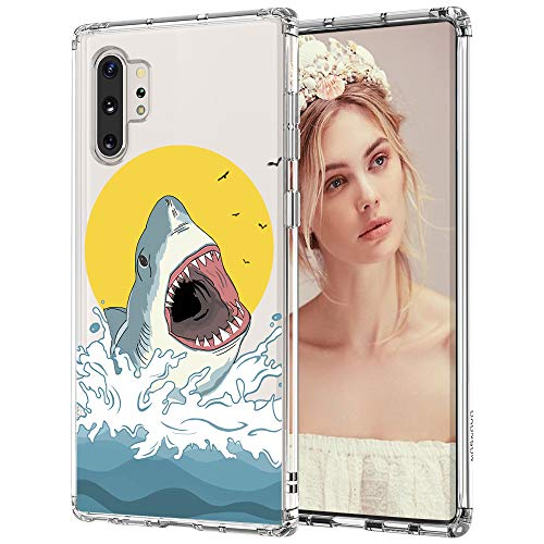 MOSNOVO Galaxy Note 10 Plus Case, Shark Pattern Clear Design Transparent Plastic Hard Back Case with TPU Bumper Protective Case Cover for Samsung Galaxy Note 10 Plus