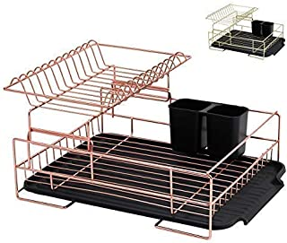 Copper Drying Rack, 2 Tier Dish Drying Rack - Large Dish Rack and Drainboard Set, Dish Drainers for Kitchen Counter- Rose Gold Dish Drying Rack with Easy Sink Drain Edge