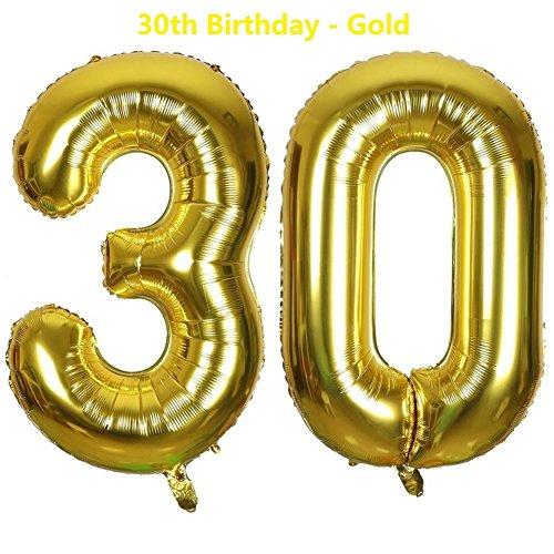 Meowoo Globo Número 30 Año Globo de Cumpleaños Foil Globo Gigante Helio Globo de Papel de Aluminio 100cm 40 Pulgada Fiesta de Aniversarios Suministros Decoración (Golden)