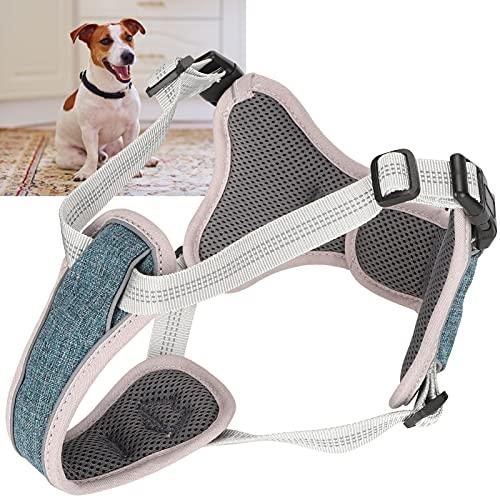01 Arnés para Perros Ajustable, arnés para Perros Anti-perdida Tiras Reflectantes llamativas envolventes de 360 ° para Perros para Cachorros(Blue, L)