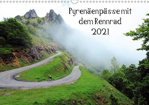 Pyrenäenpässe mit dem Rennrad 2021 (Wandkalender 2021 DIN A3 quer)