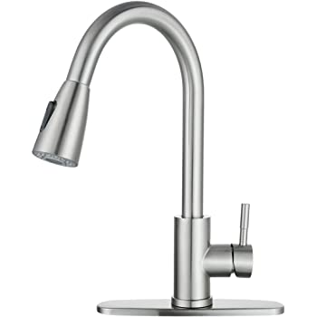 WOWOW Kitchen Faucet with Sprayer, Kitchen Sink Faucet, SUS 304 Stainless Steel, High Arc Single Handle Brushed Nickel Kitchen Faucets with Pull Down Sprayer, Pull Out Kitchen Faucet with Deck Plate