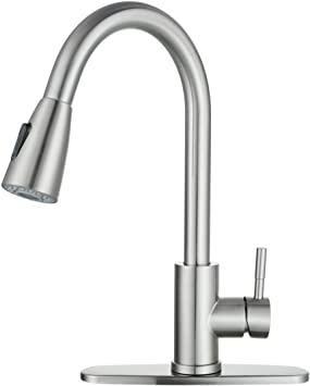 Wowow Kitchen Faucet With Sprayer Kitchen Sink Faucet Sus 304 Stainless Steel High Arc Single Handle Brushed Nickel Kitchen Faucets With Pull Down Sprayer Pull Out Kitchen Faucet With Deck Plate