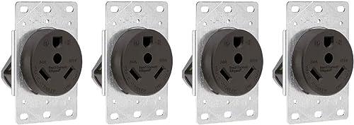 Legrand - Pass & Seymour 3830CC6 Industrial-Strength Flush-Mount Power Outlet for RVs, Dryers & Ranges | Travel Trailer Outlet 30A, 125 Volt, 2-Pole, 3-Wire,Black (Fоur Paсk, Black)