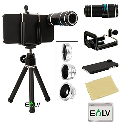 E LV 4 in 1 iPhone 5/5S Camera Lens Kit includes 12x Black Telephoto Manual Focus Camera Lens with Tripod / 3 Quick-Connect Lens Solution Fisheye Lens, Macro Lens, Wide-angle Lens / 1 Universal Holder / 1 Mini Tripod / 1 Protection Case / 1 Microfiber Digital Cleaner - Black