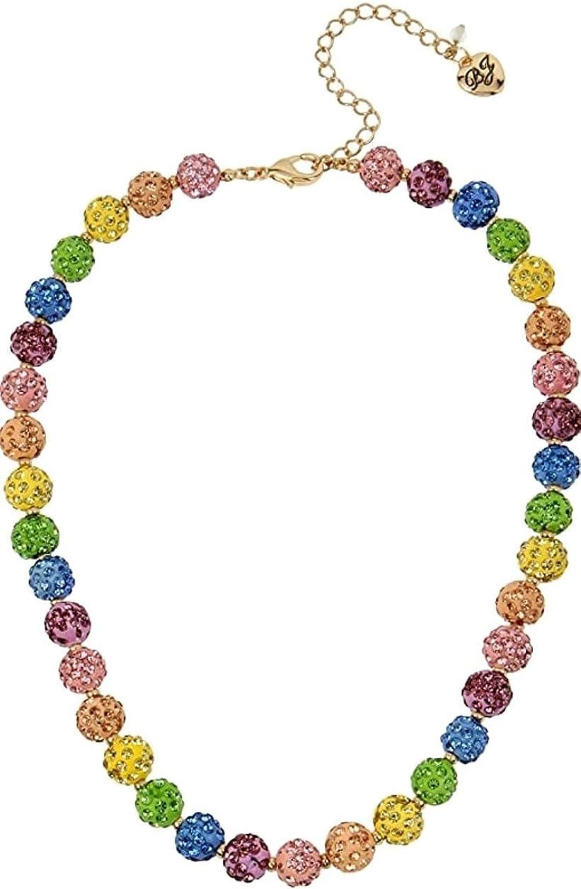 Betsey Johnson Rhinestone Stobe Fireball Collar Necklace, Multi-color