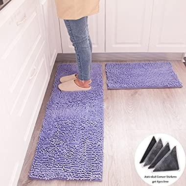 Wolala Home 2 pcs Sets Strong Absorbent Non-slip Kitchen Rug and Carpet Super Soft Chenille Shaggy Latex Backing Solid Home Decorator Floor Mats (16''x24''+16''x47'', Light purple)